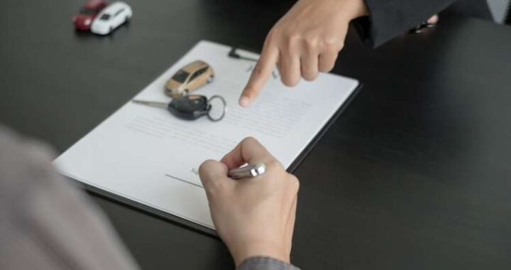 The car dealer provides advice on loans, insurance details, and car rental information, and delivers the car with the keys after the rental contract is signed.